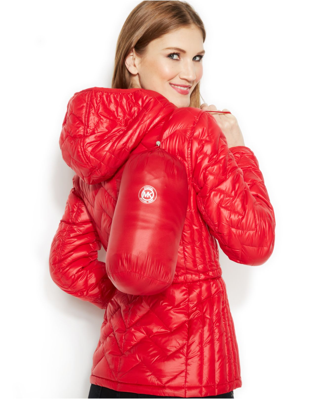 Michael kors Michael Packable Quilted Puffer Coat in Red   Lyst