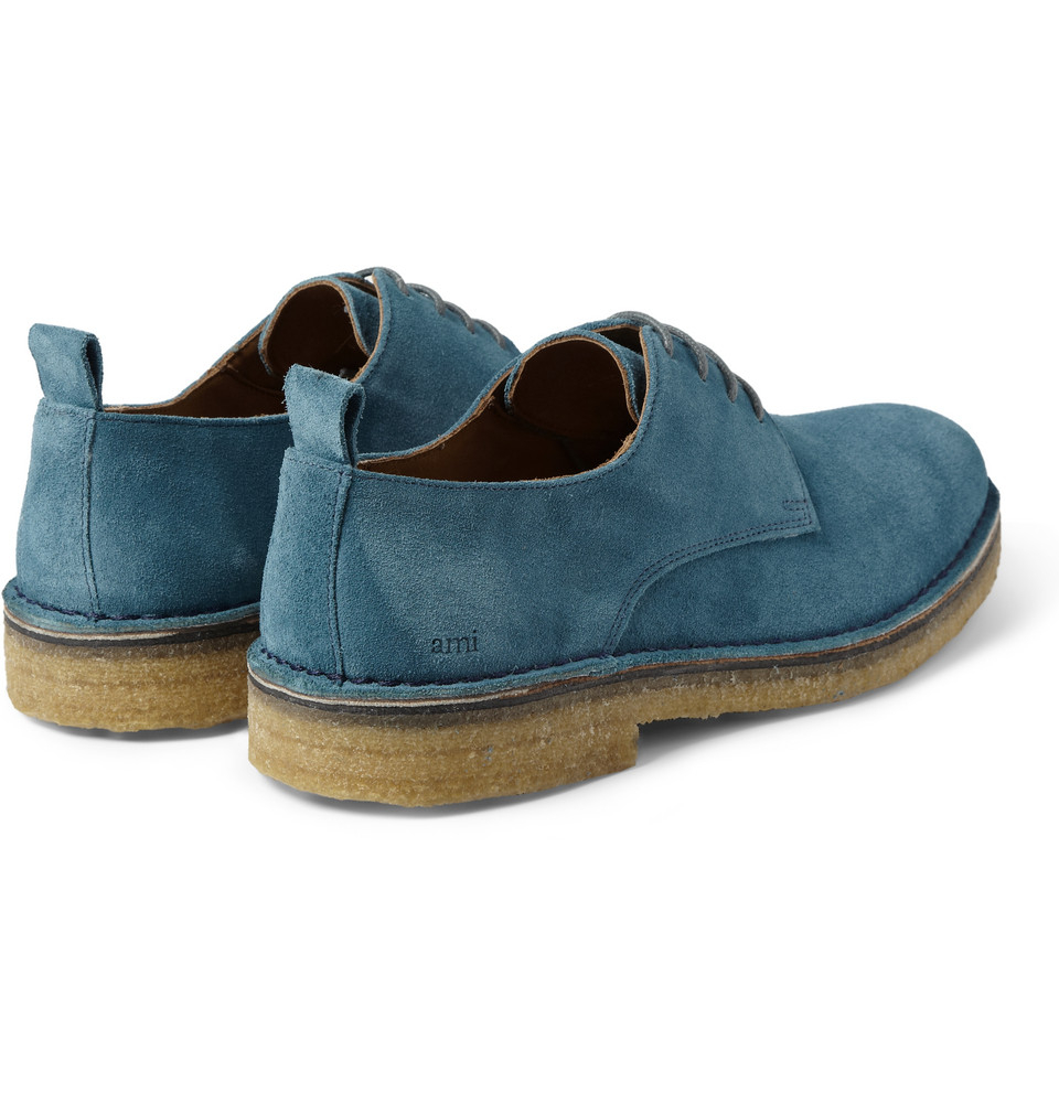 Ami Crepesoled Suede Derby Shoes In Blue For Men Lyst