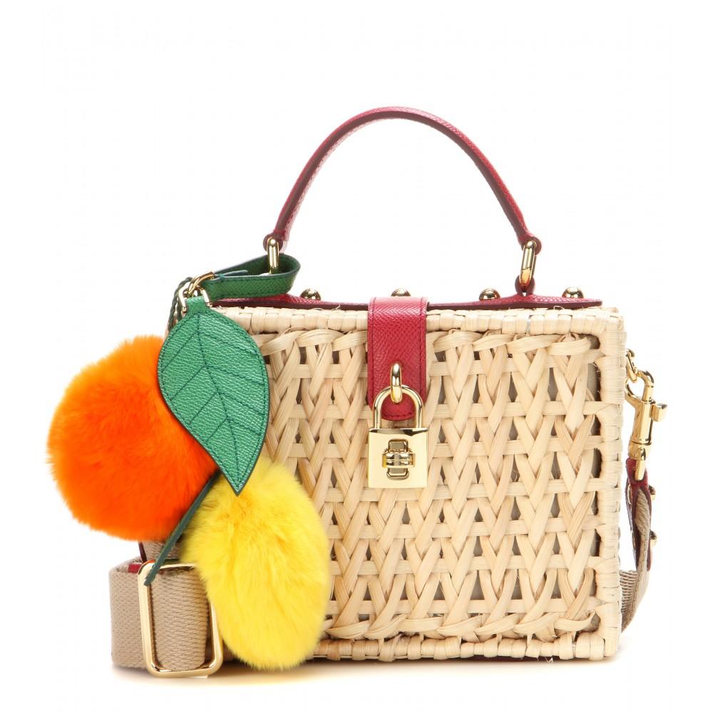 30b34156dc87 Lyst - Dolce   Gabbana Dolce Embellished Bamboo Shoulder Bag in Brown