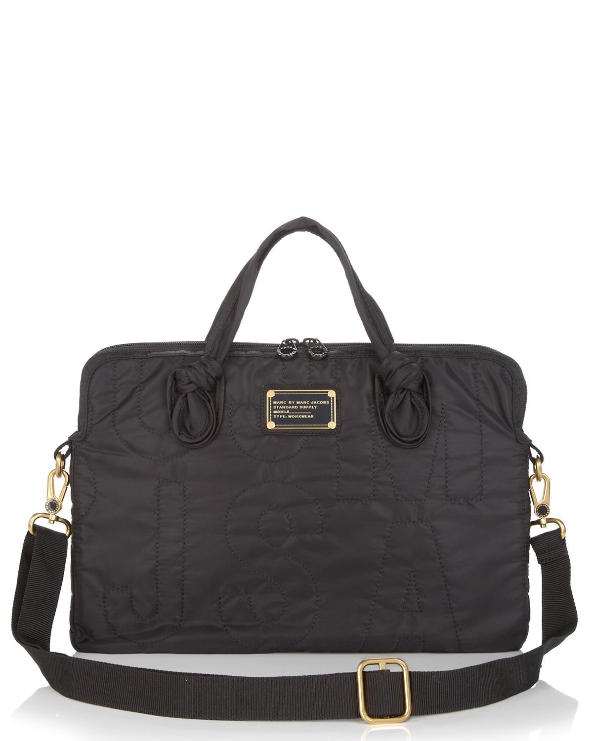 lyst marc by marc jacobs pretty nylon 15 laptop commuter case in black. Black Bedroom Furniture Sets. Home Design Ideas
