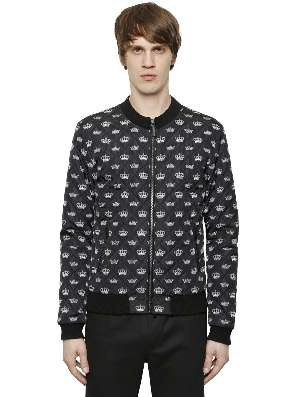 lyst dolce gabbana crown print quilted zip jacket in black for men. Black Bedroom Furniture Sets. Home Design Ideas