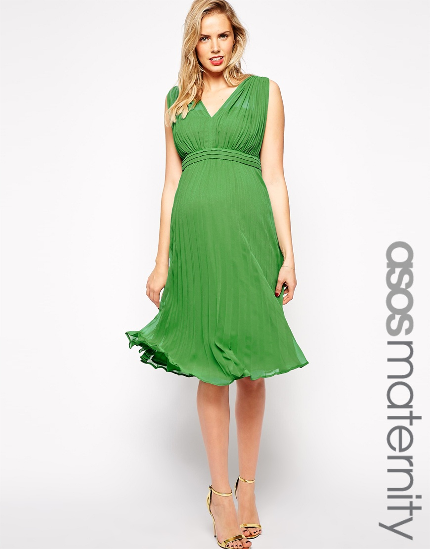 Asos maternity pleated midi dress with plunge neck in green lyst gallery ombrellifo Image collections