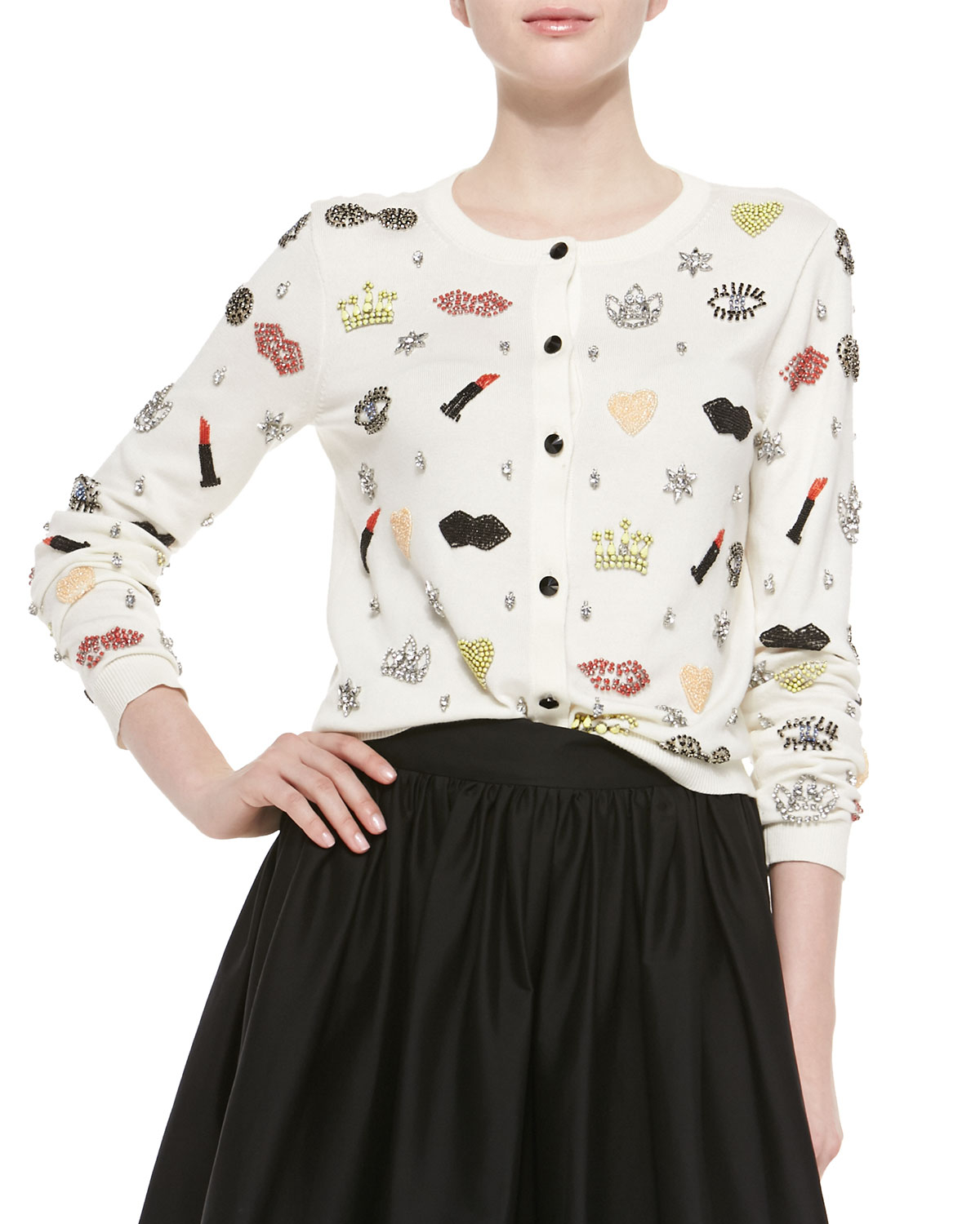 Alice   olivia Stacey Must Have Beaded Cardigan | Lyst