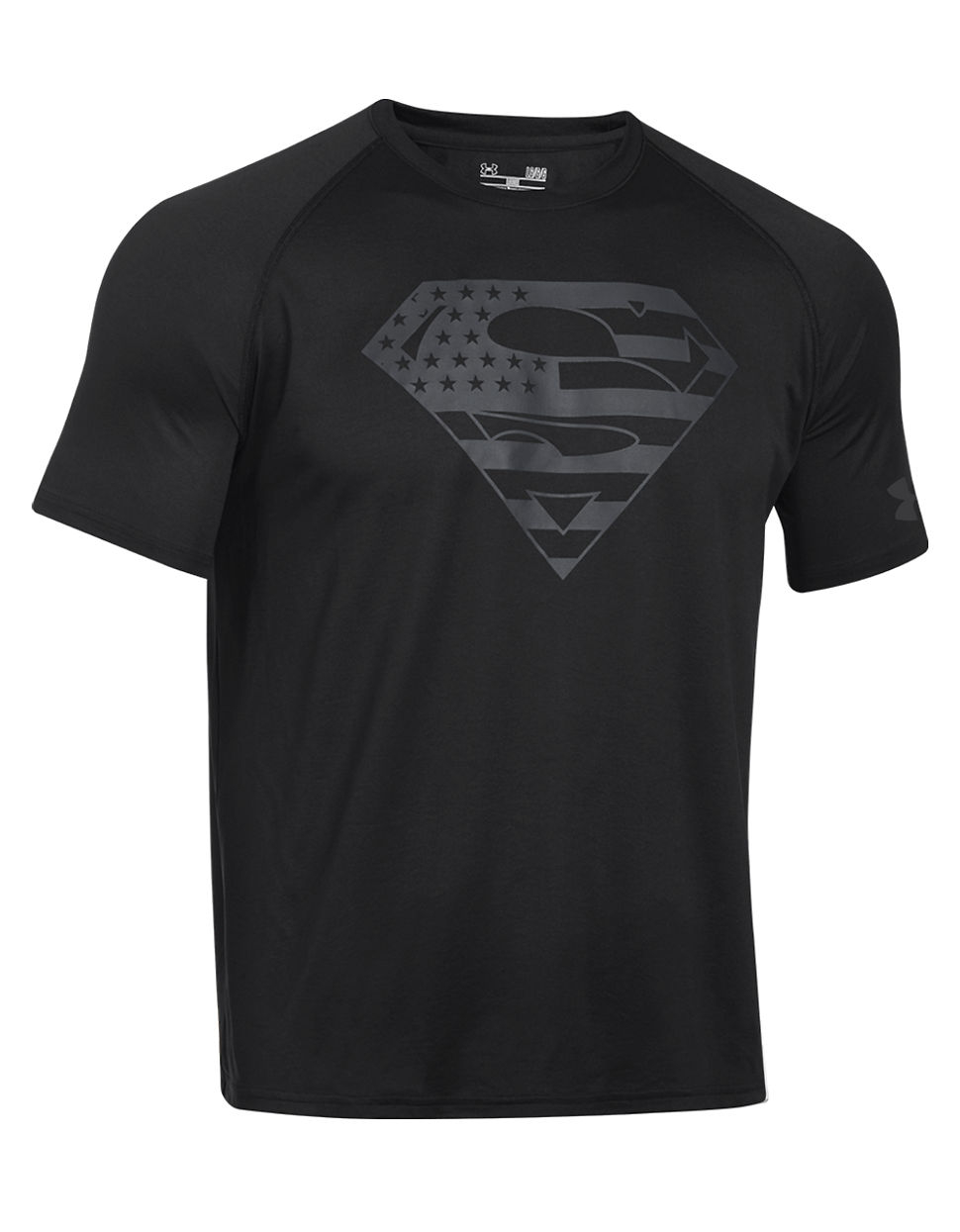 Under armour alter ego usa superman tee in black for men for Under armour swim shirt