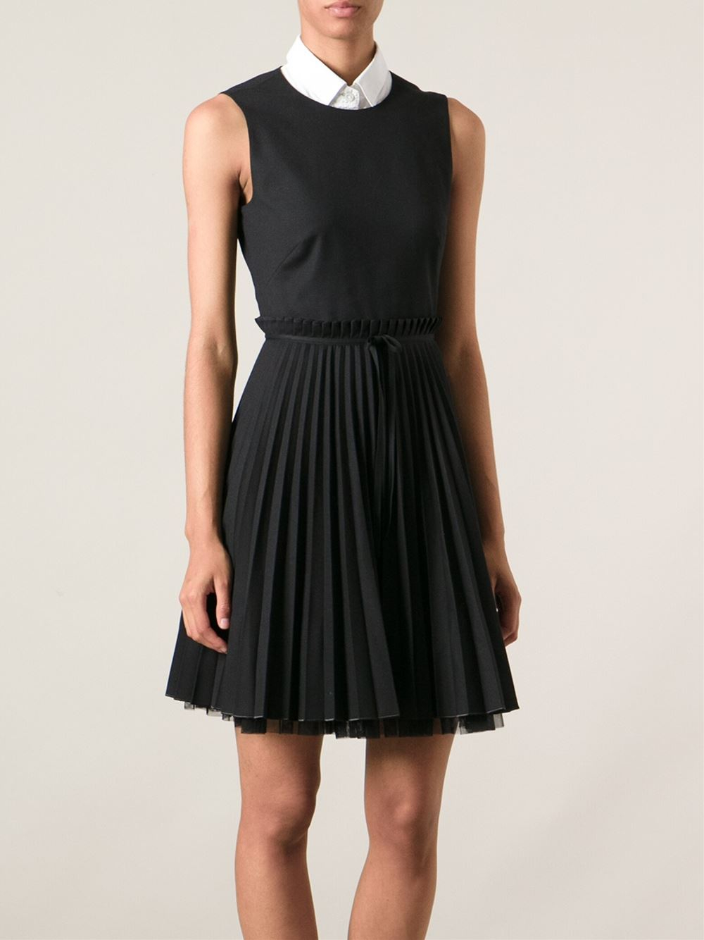 Lyst Red Valentino Pleated Dress In Black