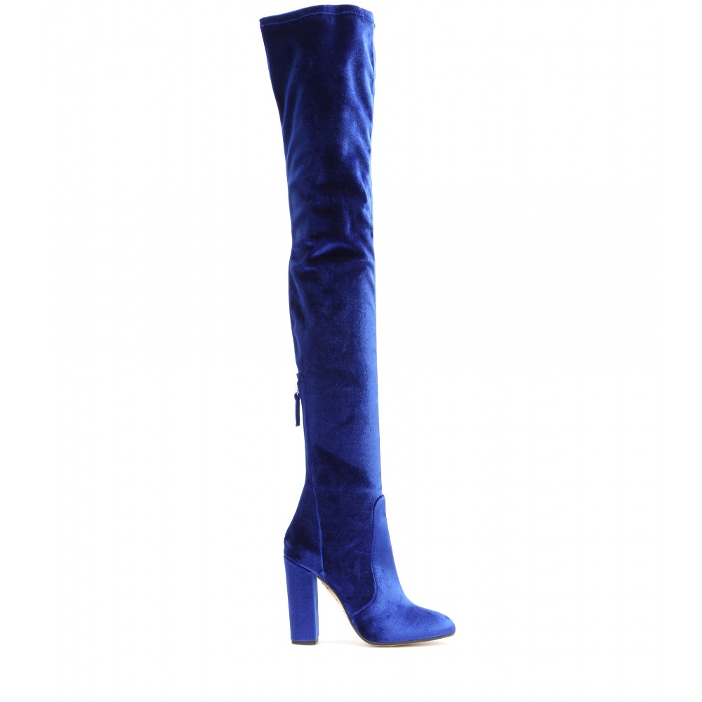 Aquazzura Velvet Over-The-Knee Boots in Blue | Lyst