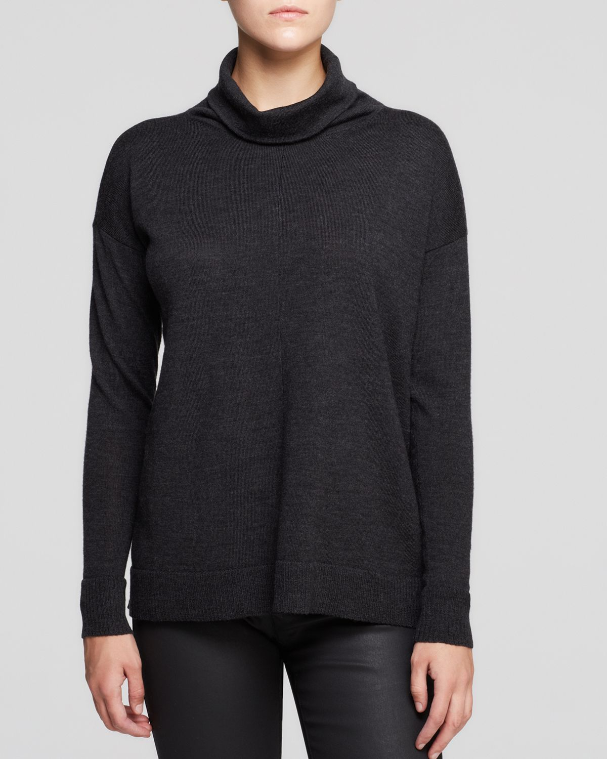 Eileen fisher Merino Wool Turtleneck Sweater in Gray | Lyst
