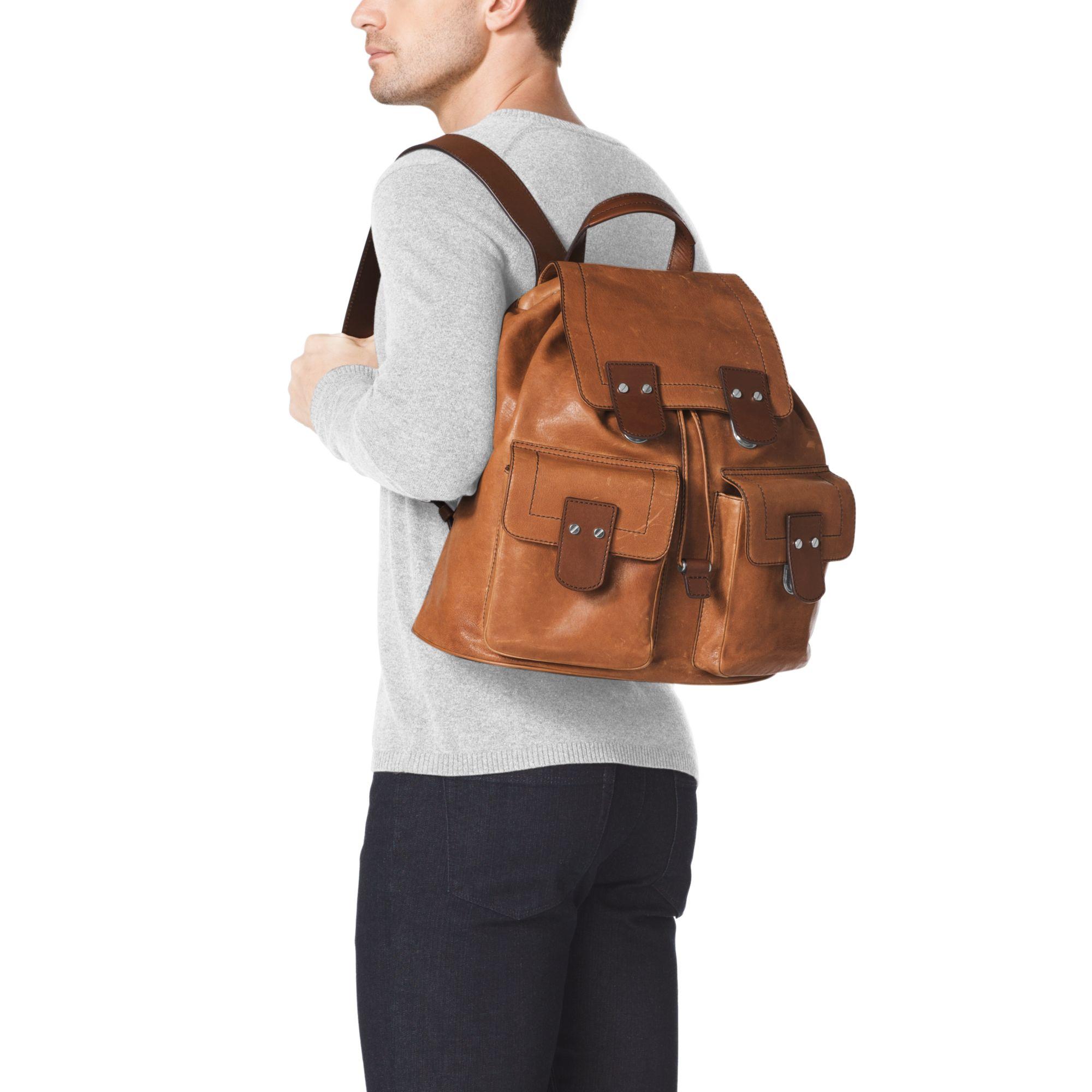 c05152aa15cd Michael Kors Wilder Vintage Leather Backpack in Brown for Men - Lyst