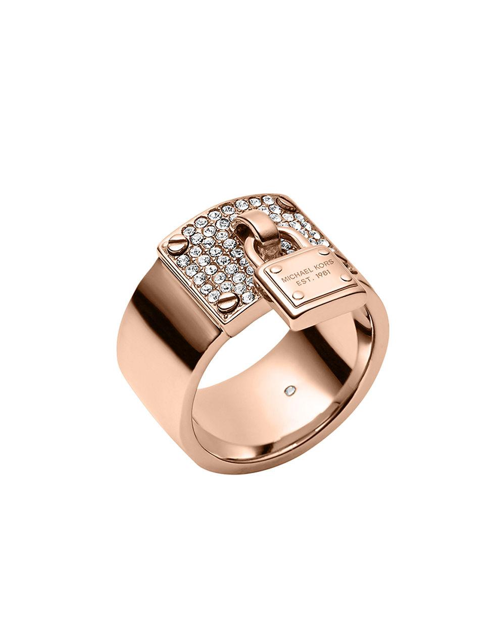 michael kors rose goldtone crystallized plaque ring with padlock charm in pink rose gold lyst. Black Bedroom Furniture Sets. Home Design Ideas