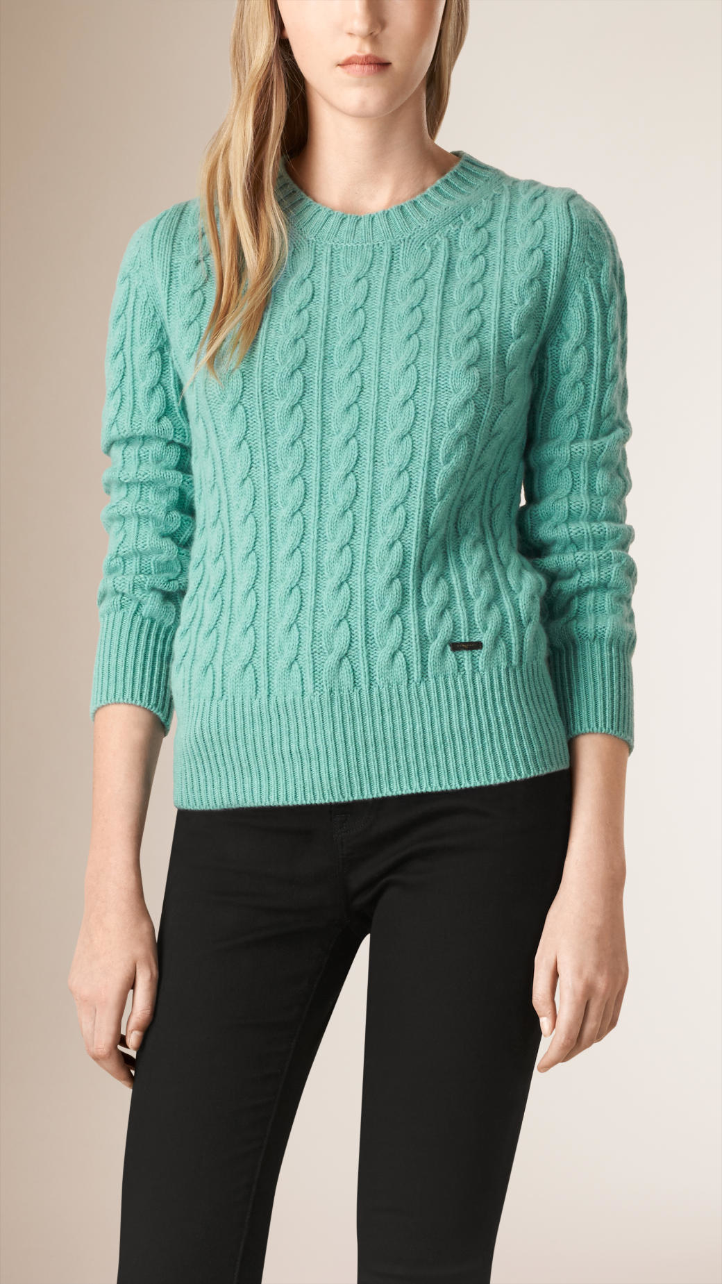 Lyst - Burberry Cable Knit Wool Cashmere Sweater Dusty ...