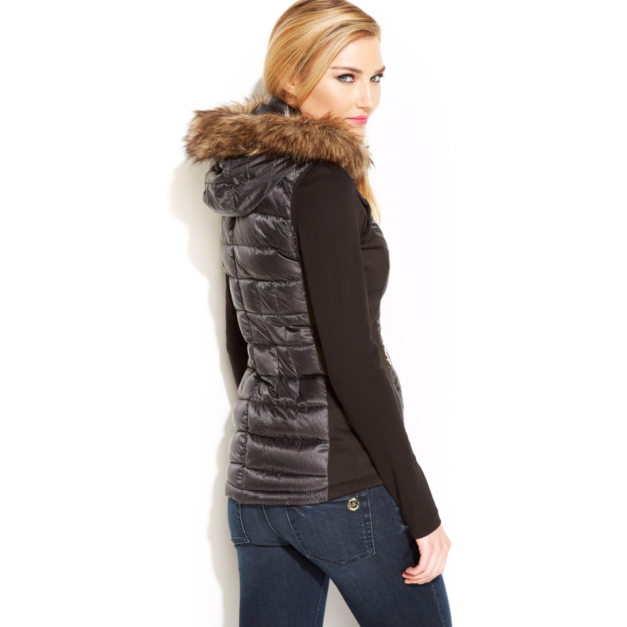 5a16ff70ac1c5e Michael Kors Michael Faux-fur-trim Printed Puffer Vest in Black - Lyst