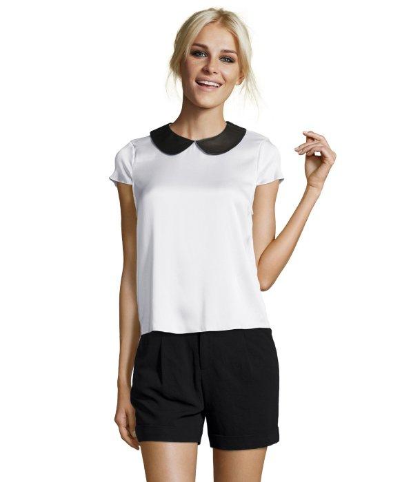 Alice olivia white stretch silk 39 emily 39 peter pan collar for White cotton shirt peter pan collar