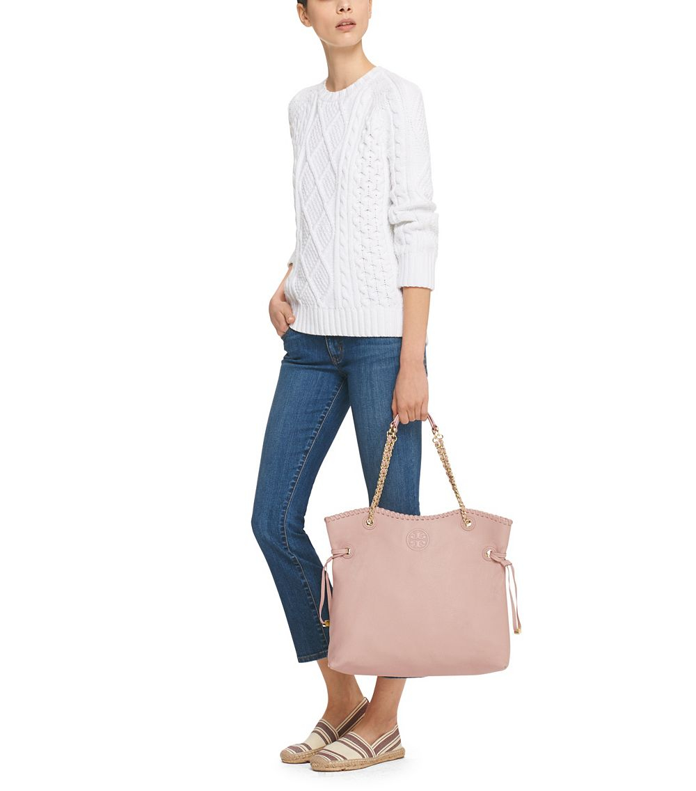 Lyst Tory Burch Marion Slouchy Tote In Natural