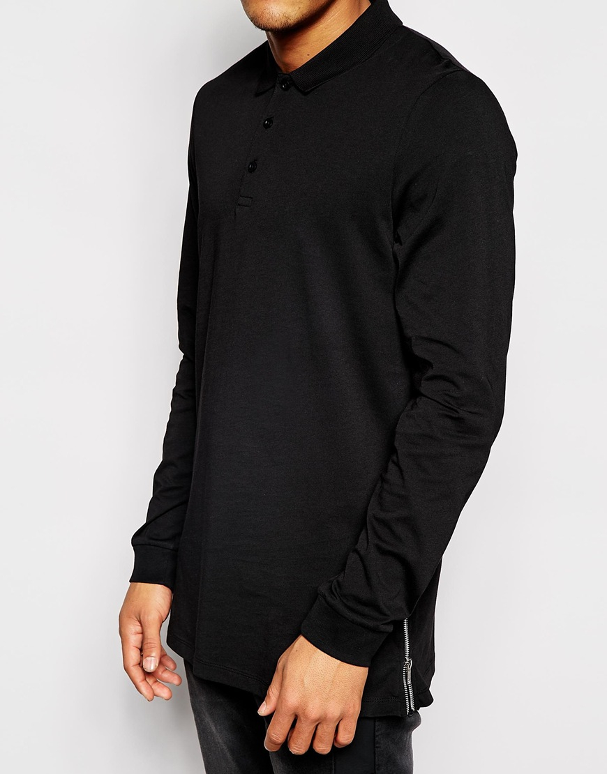 Asos Longline Long Sleeve Polo Shirt With Side Zips In