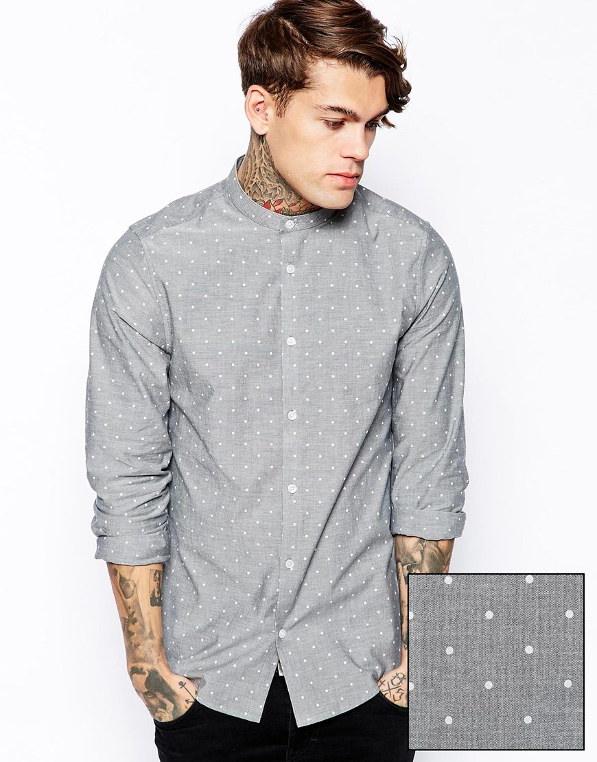 Lyst Asos Smart Shirt In Long Sleeve With Chambray Polka