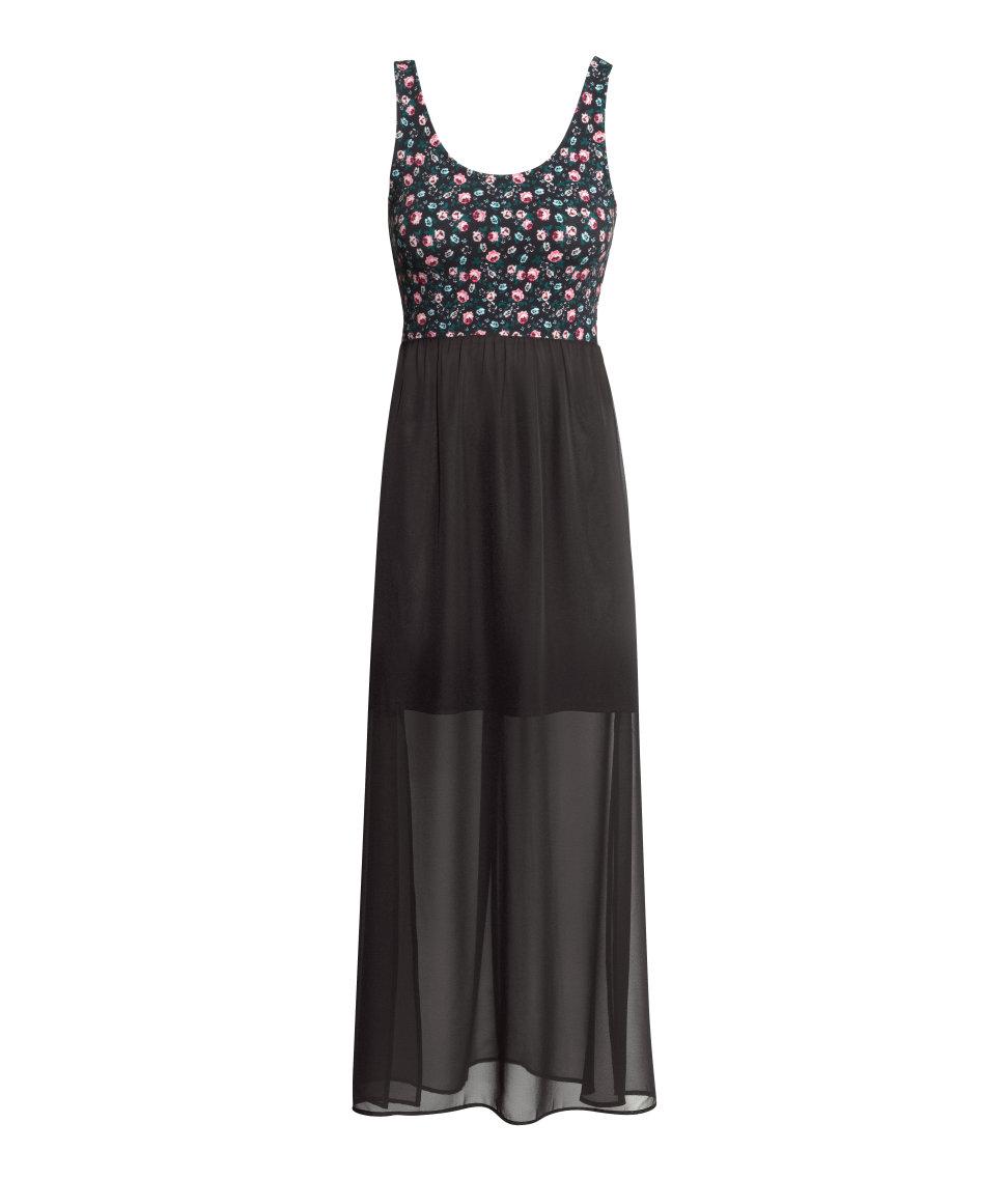 h m maxi dress in black lyst