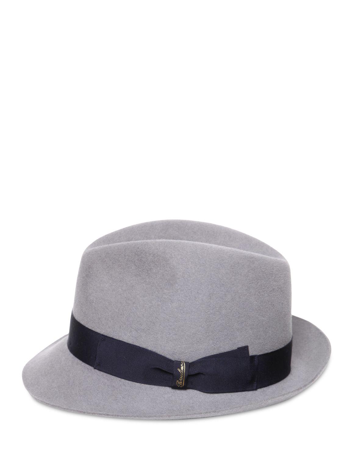fa4b6c880f6fb Borsalino Lapin Fur Felt Trilby Hat in Gray - Lyst