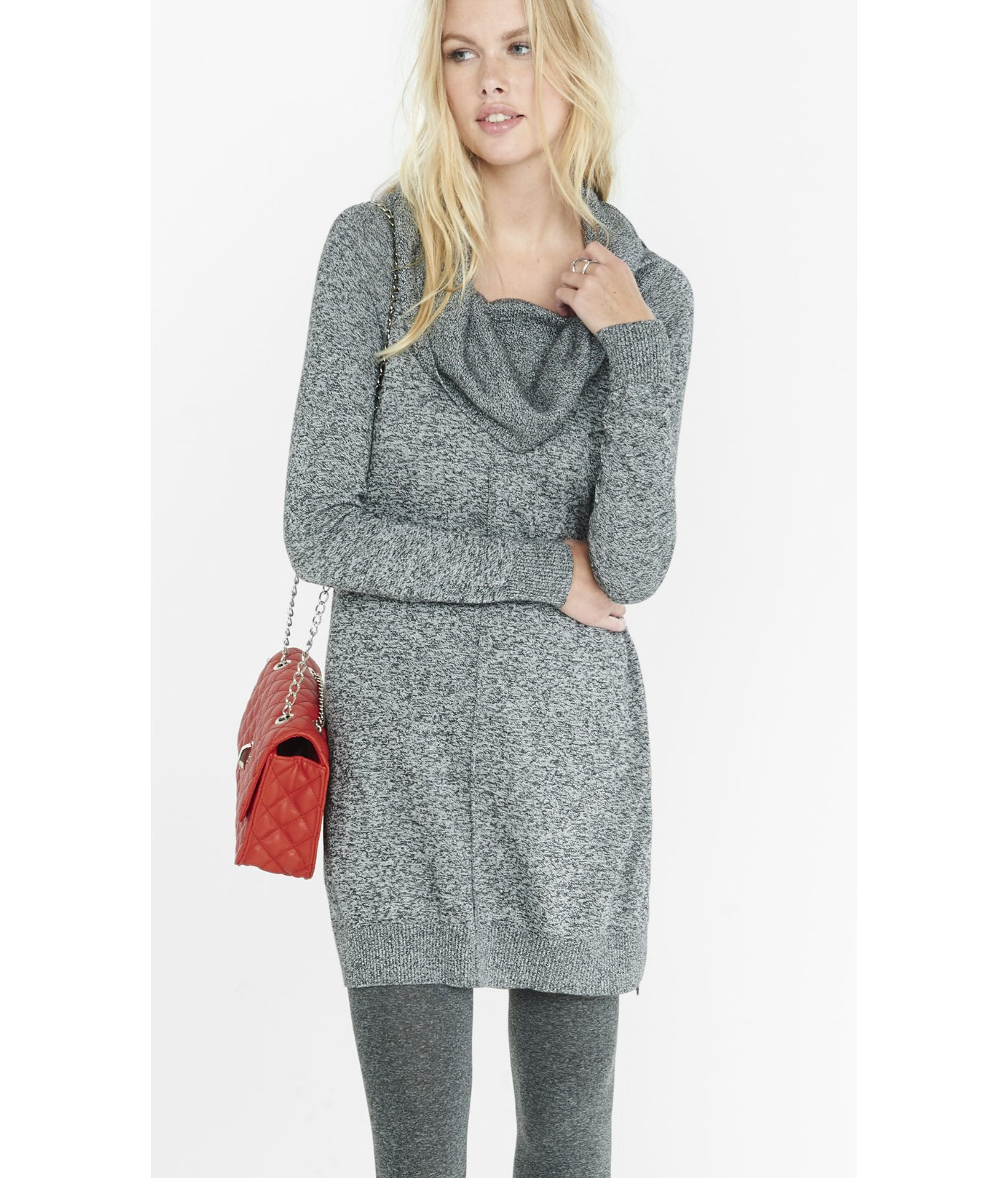 Express Marl Cowl Neck Sweater Dress in Gray | Lyst