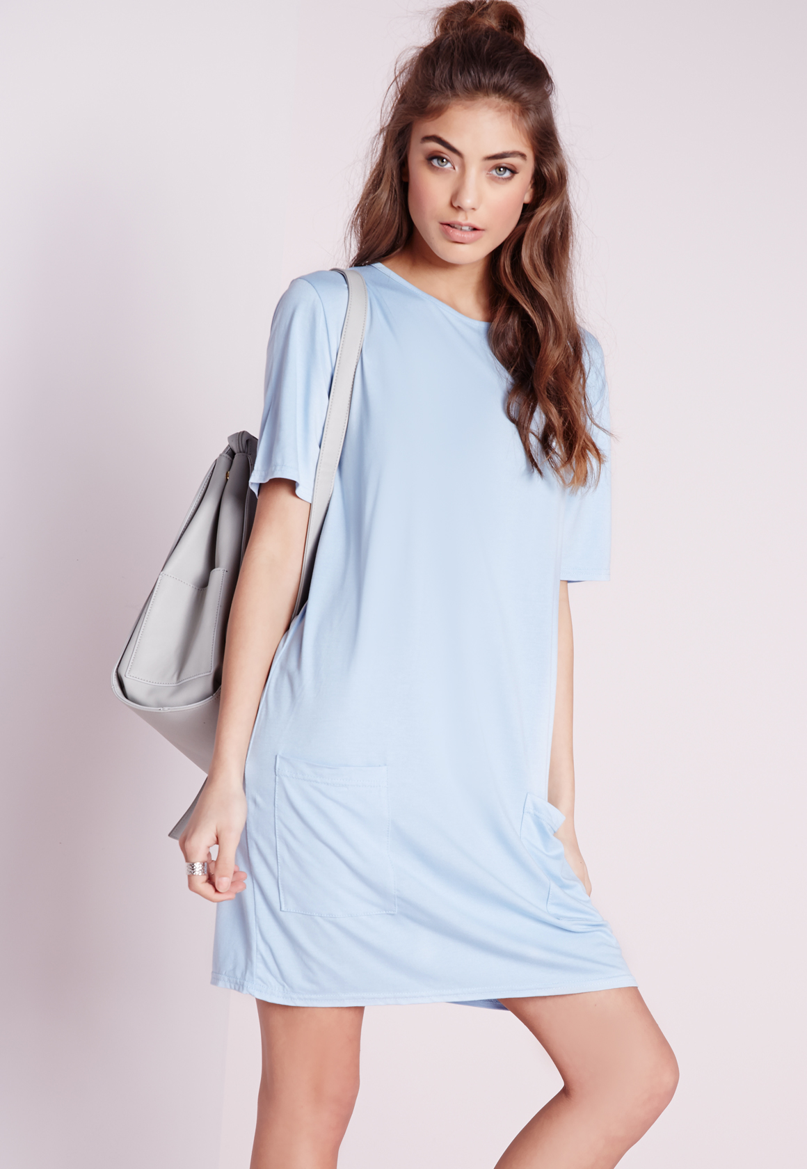 Missguided Jersey Pocket Front T-shirt Dress Powder Blue in Blue ...