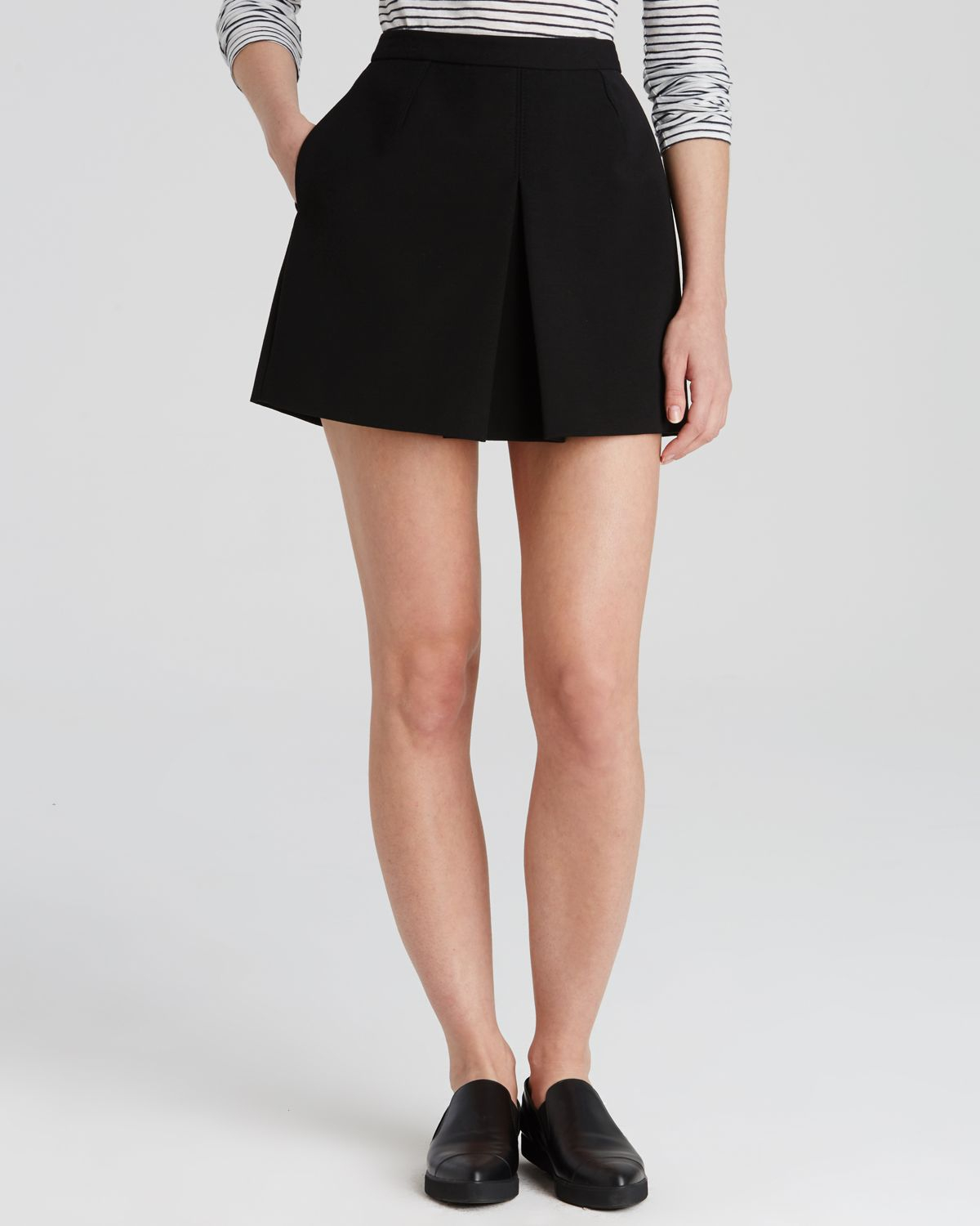 vince inverted front pleat skirt in black lyst