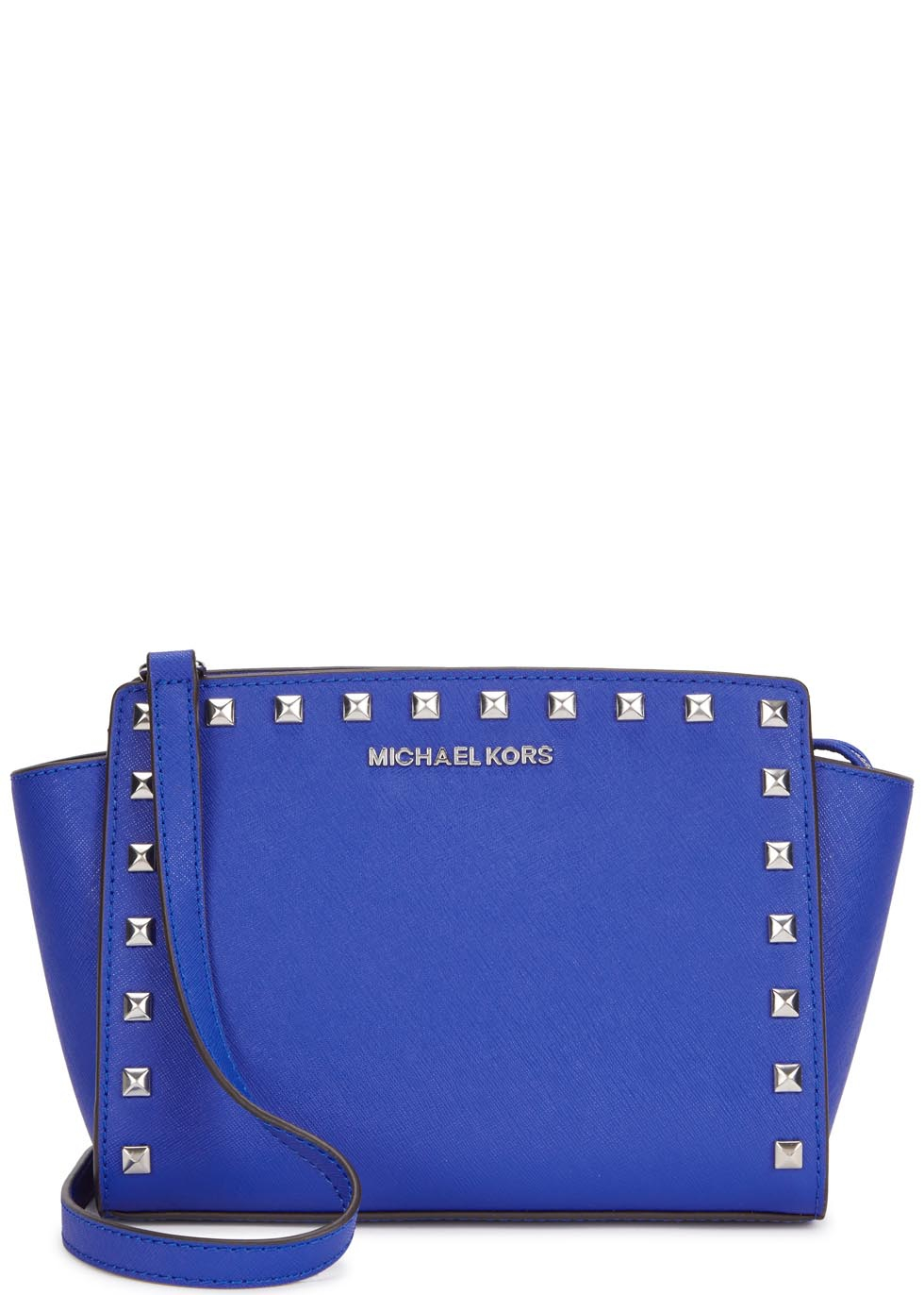 38a4c5732d71 Michael Kors Selma Blue Studded Leather Cross-body Bag in Blue - Lyst
