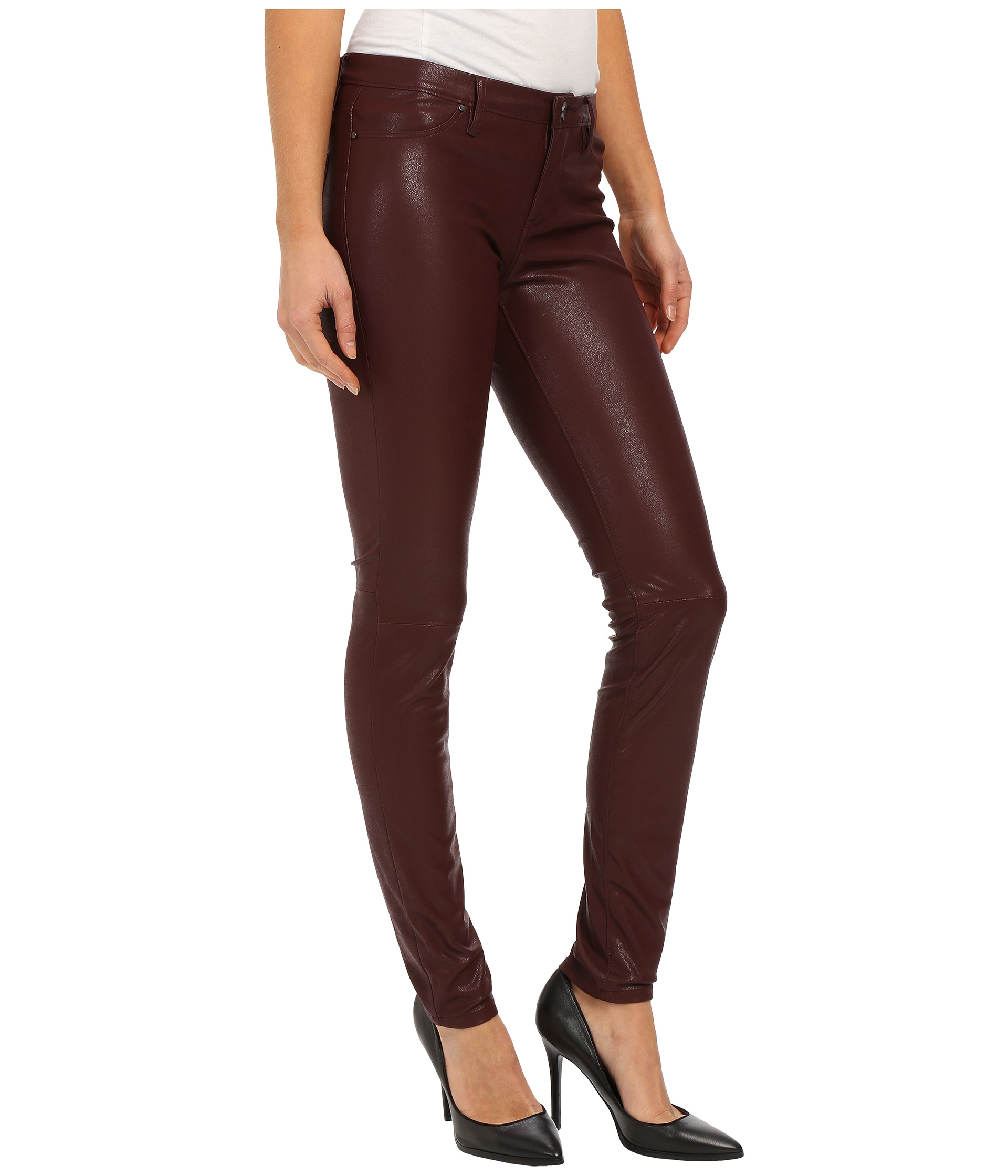 288fa819b8493 Lyst - Blank Burgundy Five-pocket Vegan Leather Pants In Going ...