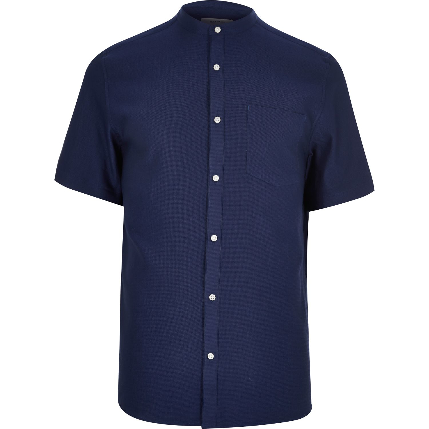 River island blue waffle short sleeve grandad shirt in for Short sleeve grandad shirt