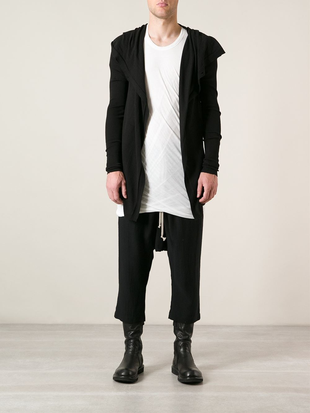 Rick owens Hooded Long Cardigan in Black for Men | Lyst