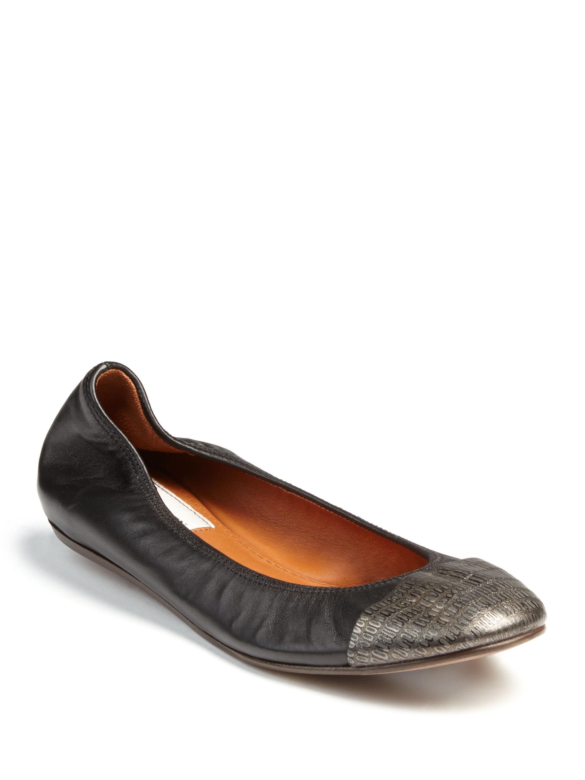 Womens Flats Lanvin Metallic Snake Embossed Leather Flats Flats Big Sale