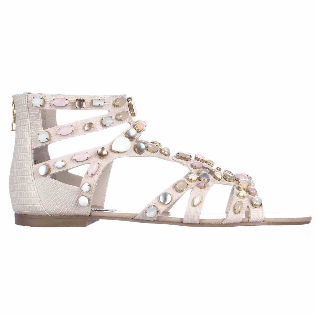a982aa0c0bd Lyst - Steve Madden Culver Jeweled Gladiator Flat Sandals in White