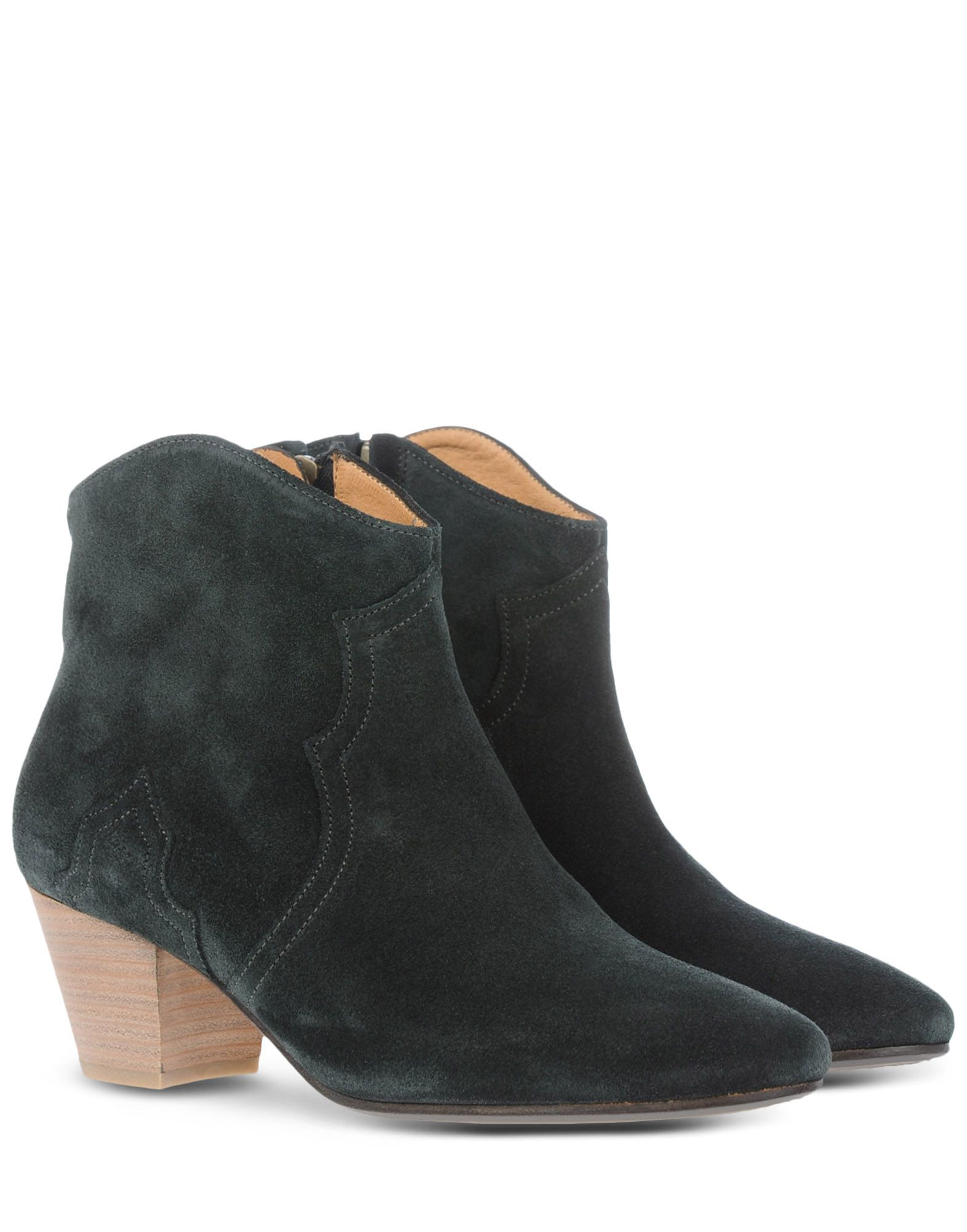 toile isabel marant curved topline suede ankle boots in gray steel grey lyst. Black Bedroom Furniture Sets. Home Design Ideas