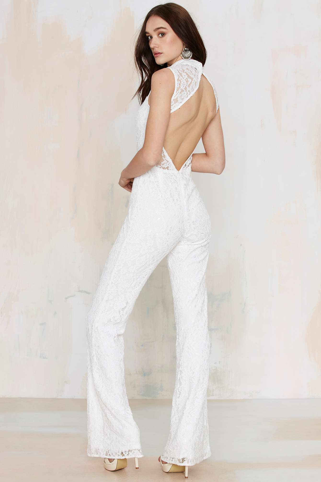 314bb833f13 Nasty gal Adriana Lace Jumpsuit - White in White