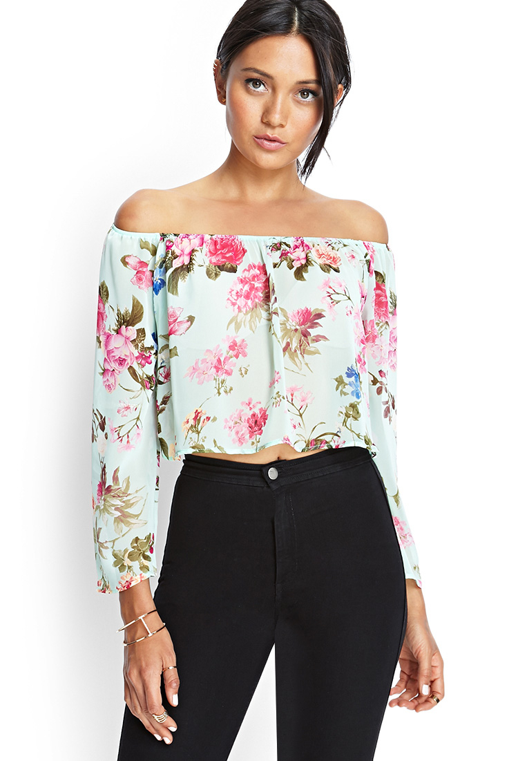 Forever 21 Off the Shoulder Floral Top in Green (Mint/multi)