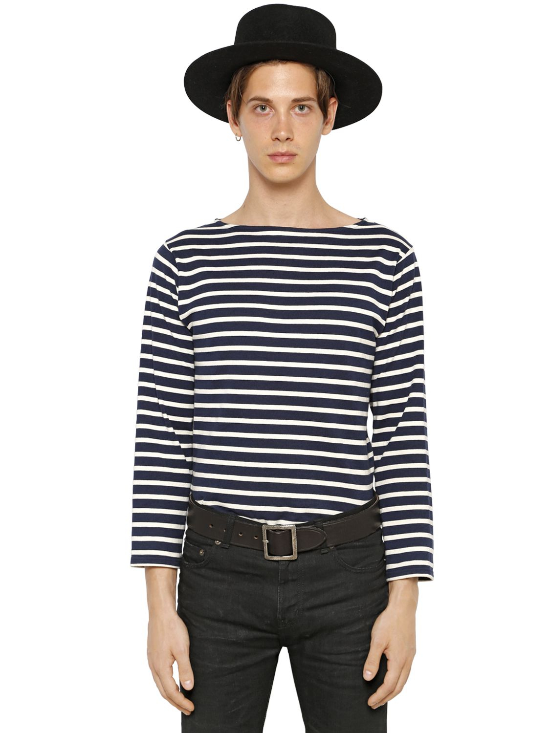 Lyst saint laurent long sleeve striped cotton t shirt in for Blue and white striped long sleeve t shirt