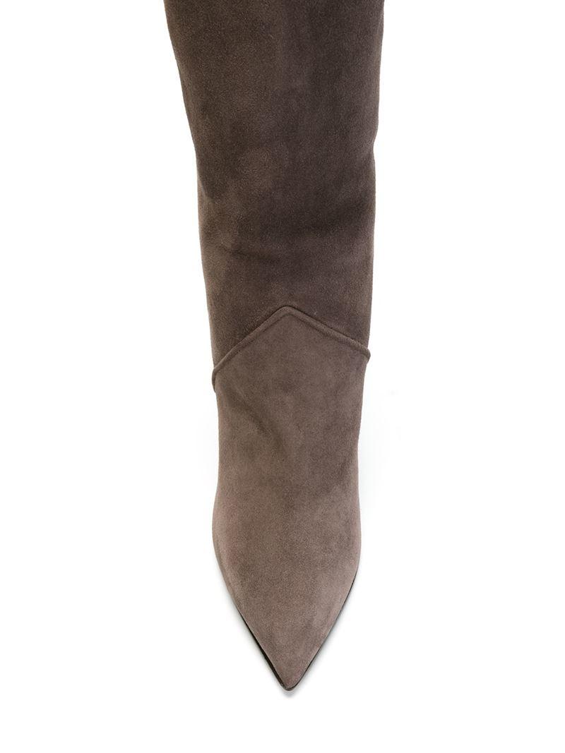 laurent knee high wedge boots in gray lyst