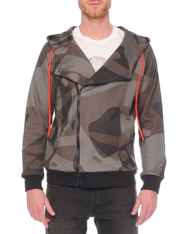 alexander mcqueen camo print asymmetric zip hoodie in white for men lyst. Black Bedroom Furniture Sets. Home Design Ideas