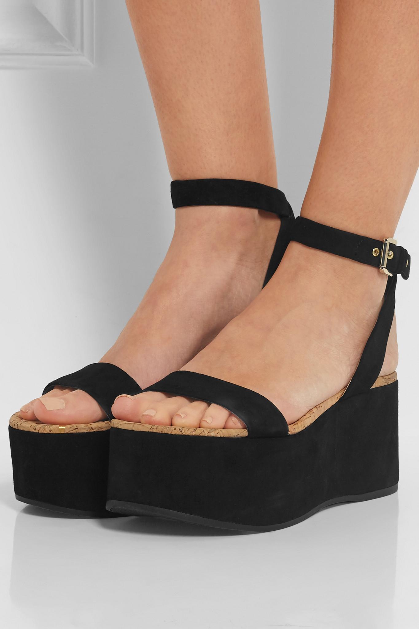 8ce68a77e810 Sam Edelman - Henley Suede Platform Sandals - Black in Black - Lyst