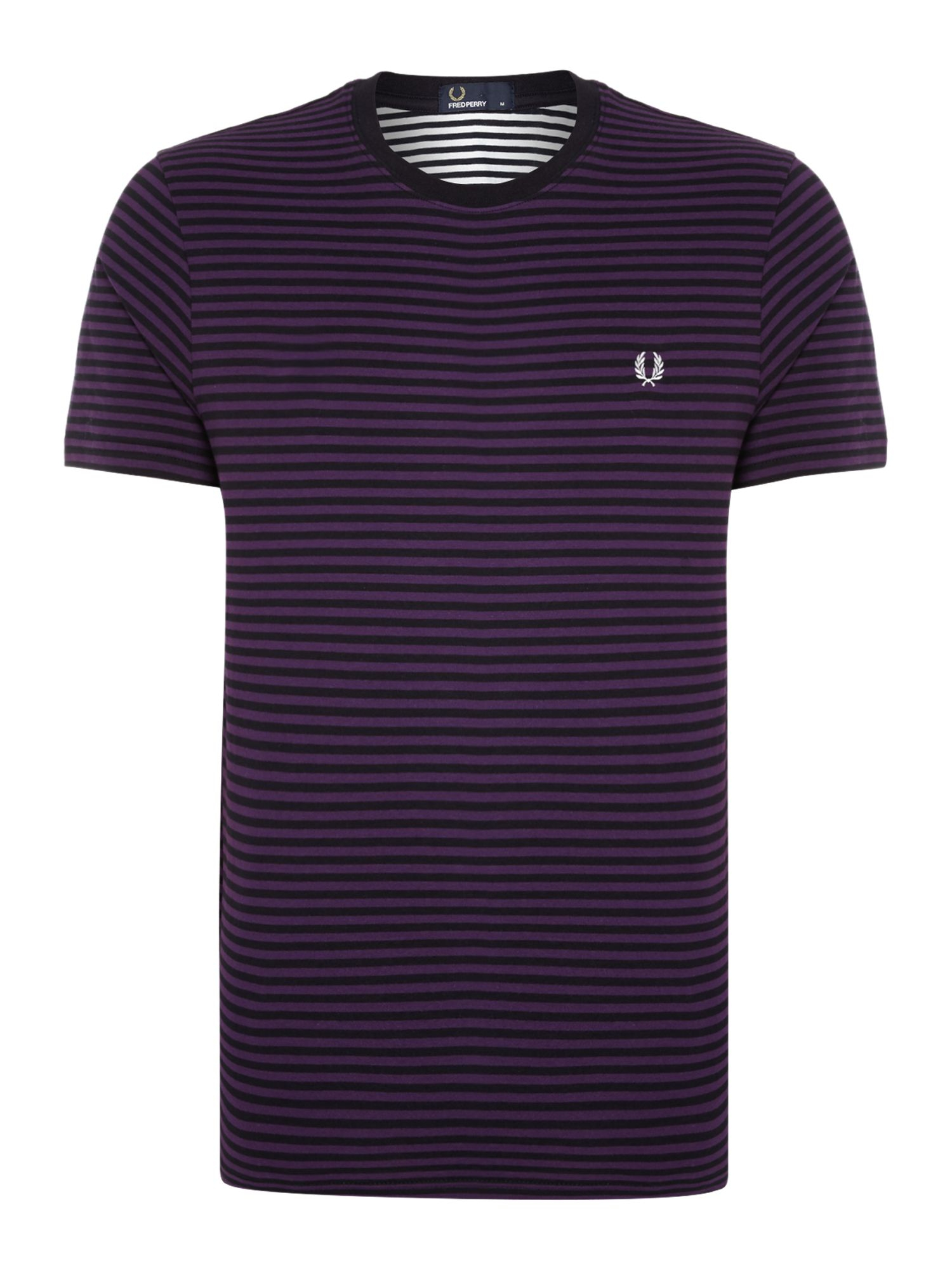 Fred Perry Blue Sharp Fine Stripe Crew Neck T Shirt For