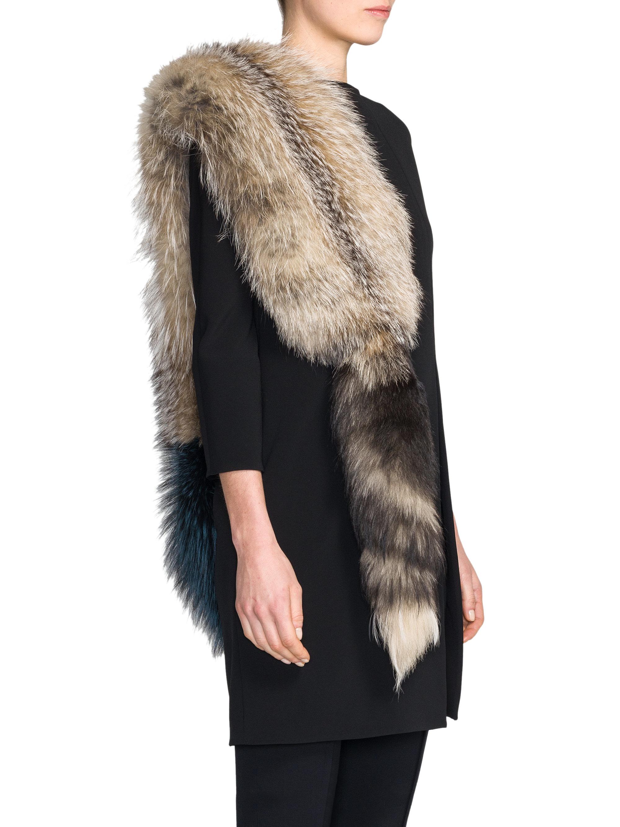 Marni bicolor silver fox fur stole in blue lyst - Stoel fur ...