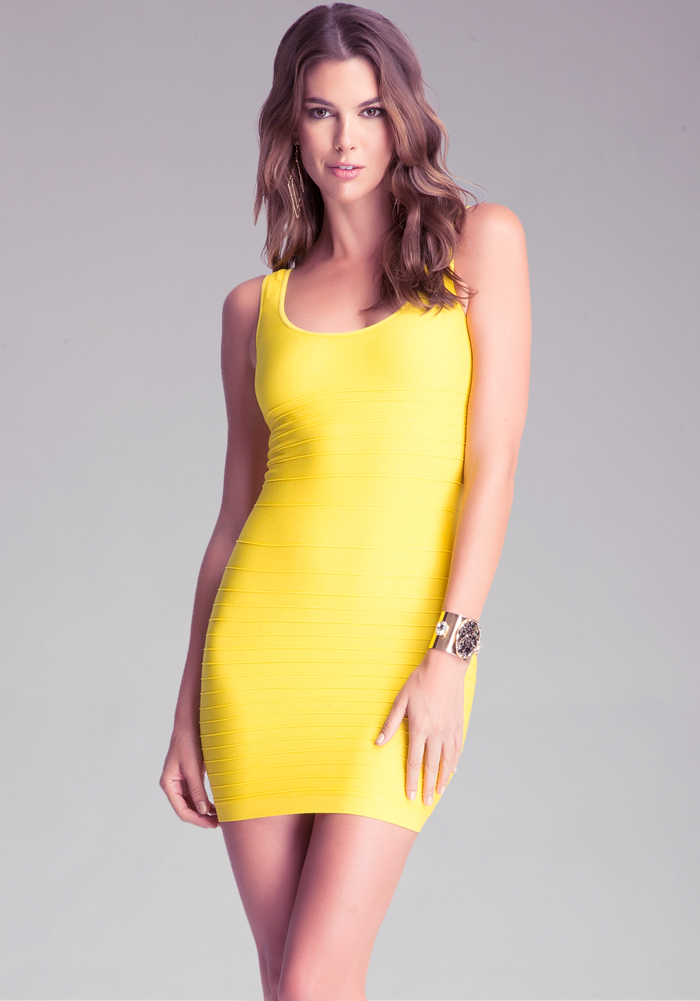 lyst bebe back cutout shine dress in yellow. Black Bedroom Furniture Sets. Home Design Ideas