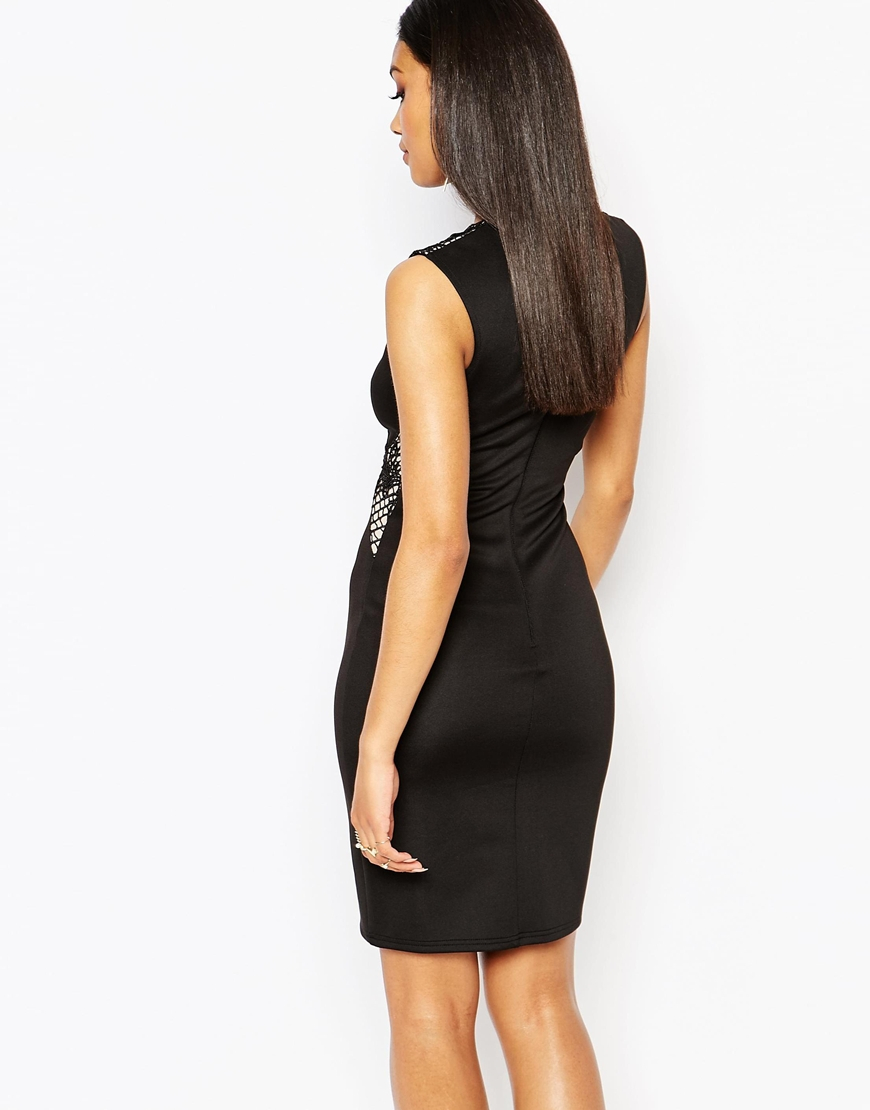 Lipsy bandage bodycon dress with lace insert in black