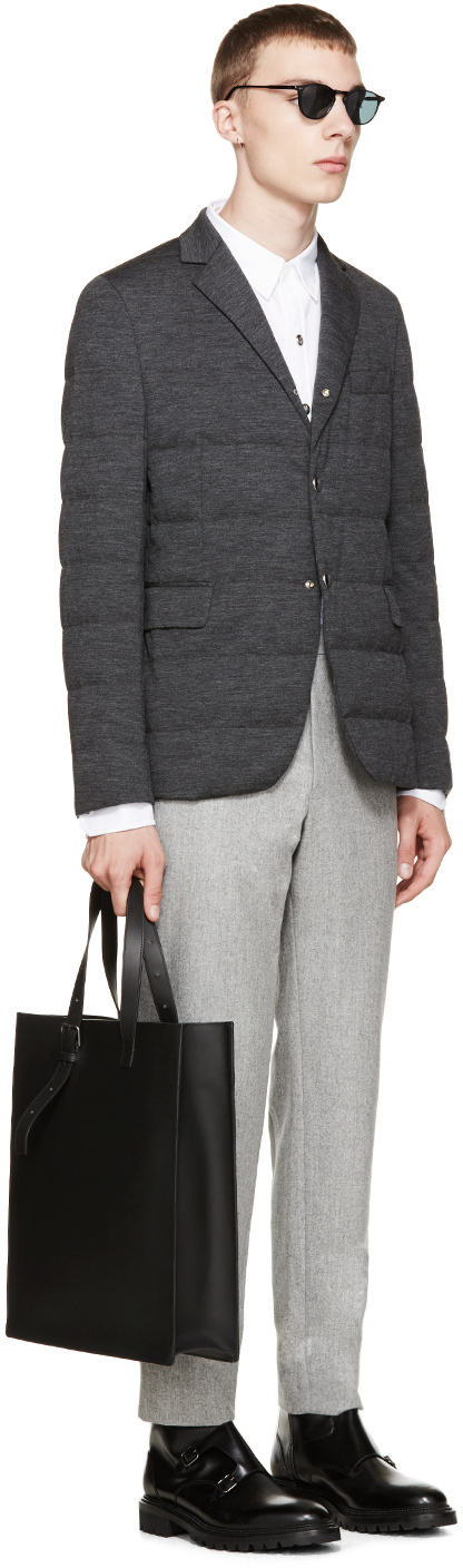 d8bb16adb Lyst - Moncler Gamme Bleu Grey Quilted Down Blazer in Gray for Men