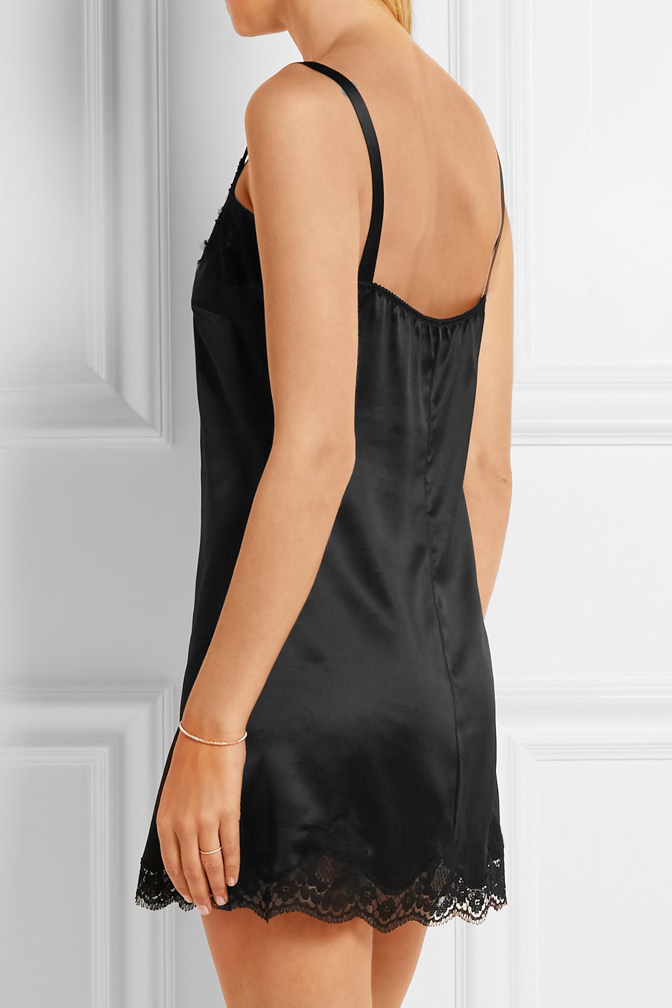 Dolce   Gabbana Lace-trimmed Stretch Silk-blend Satin Chemise in ... 66fce5f0f