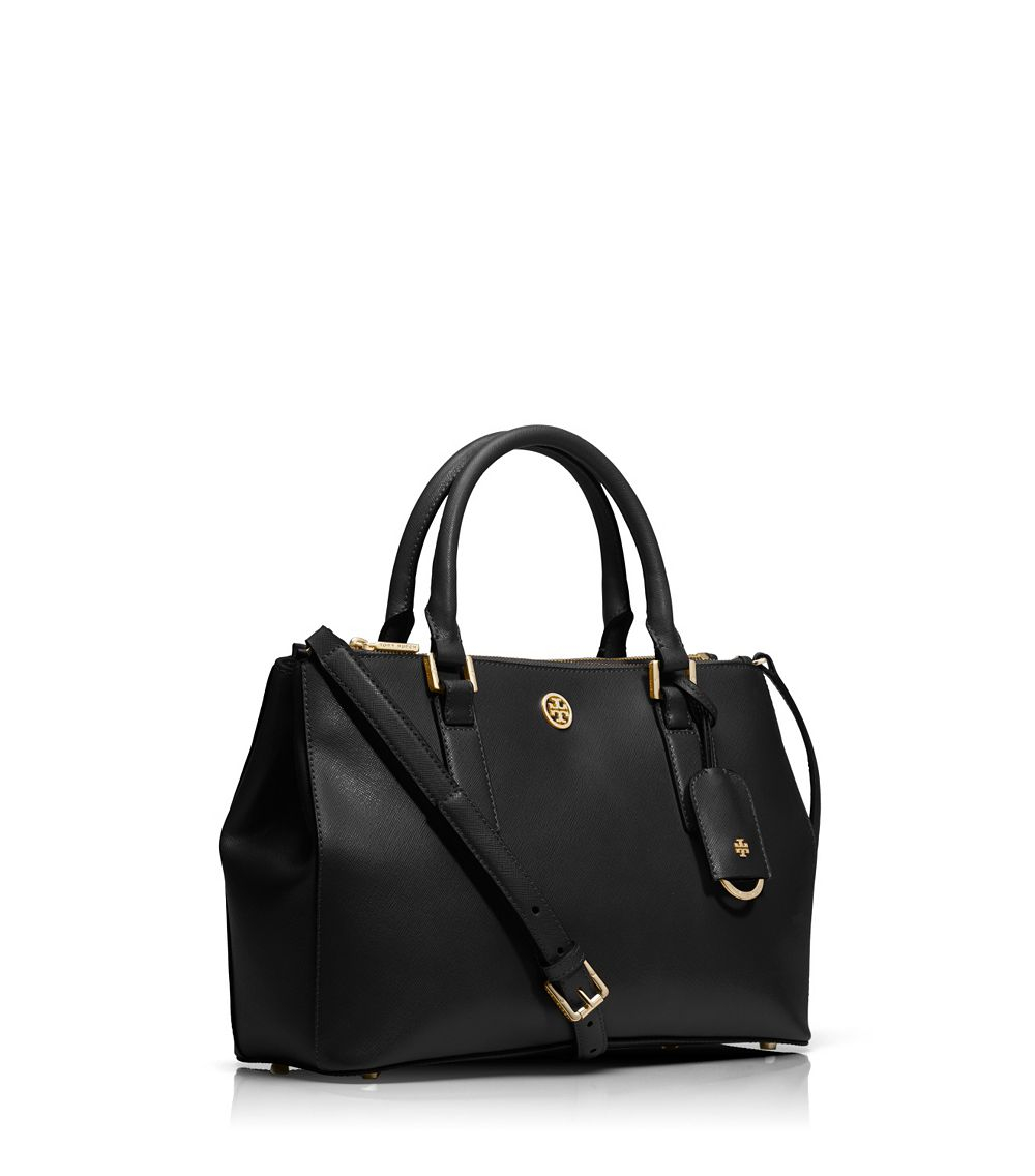 a5bd76141b4 Tory Burch Robinson Mini Double-zip Tote in Black - Lyst