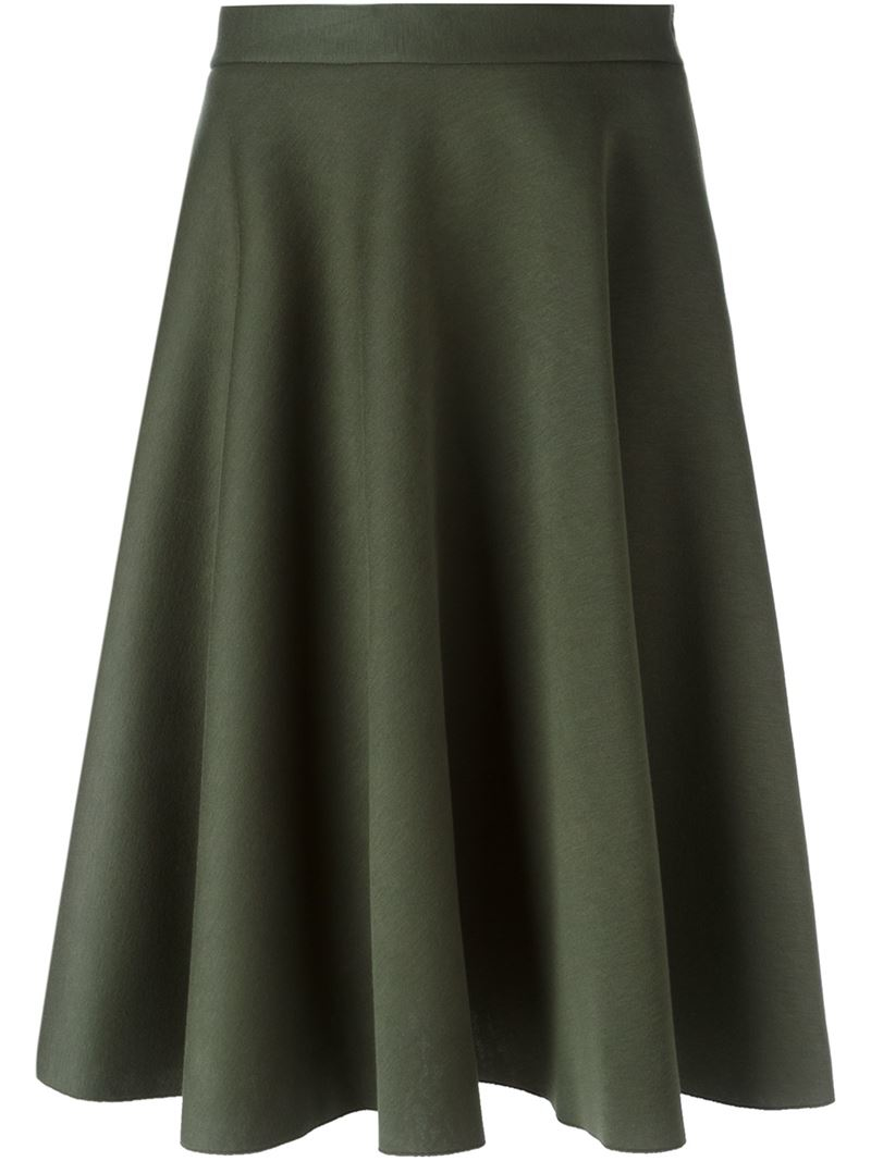 p a r o s h midi skirt in green lyst