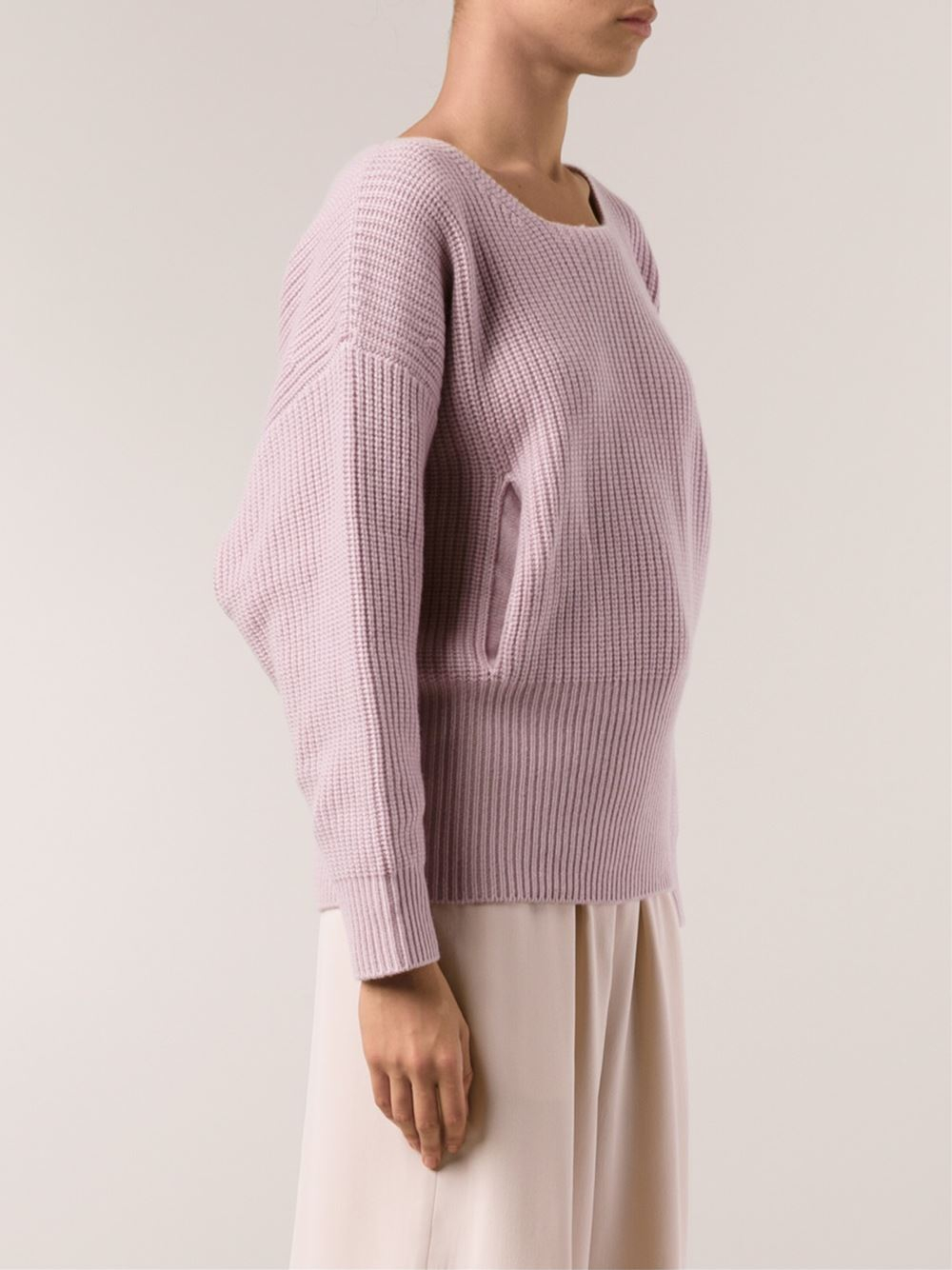 Chloé Ribbed Sweater in Pink | Lyst