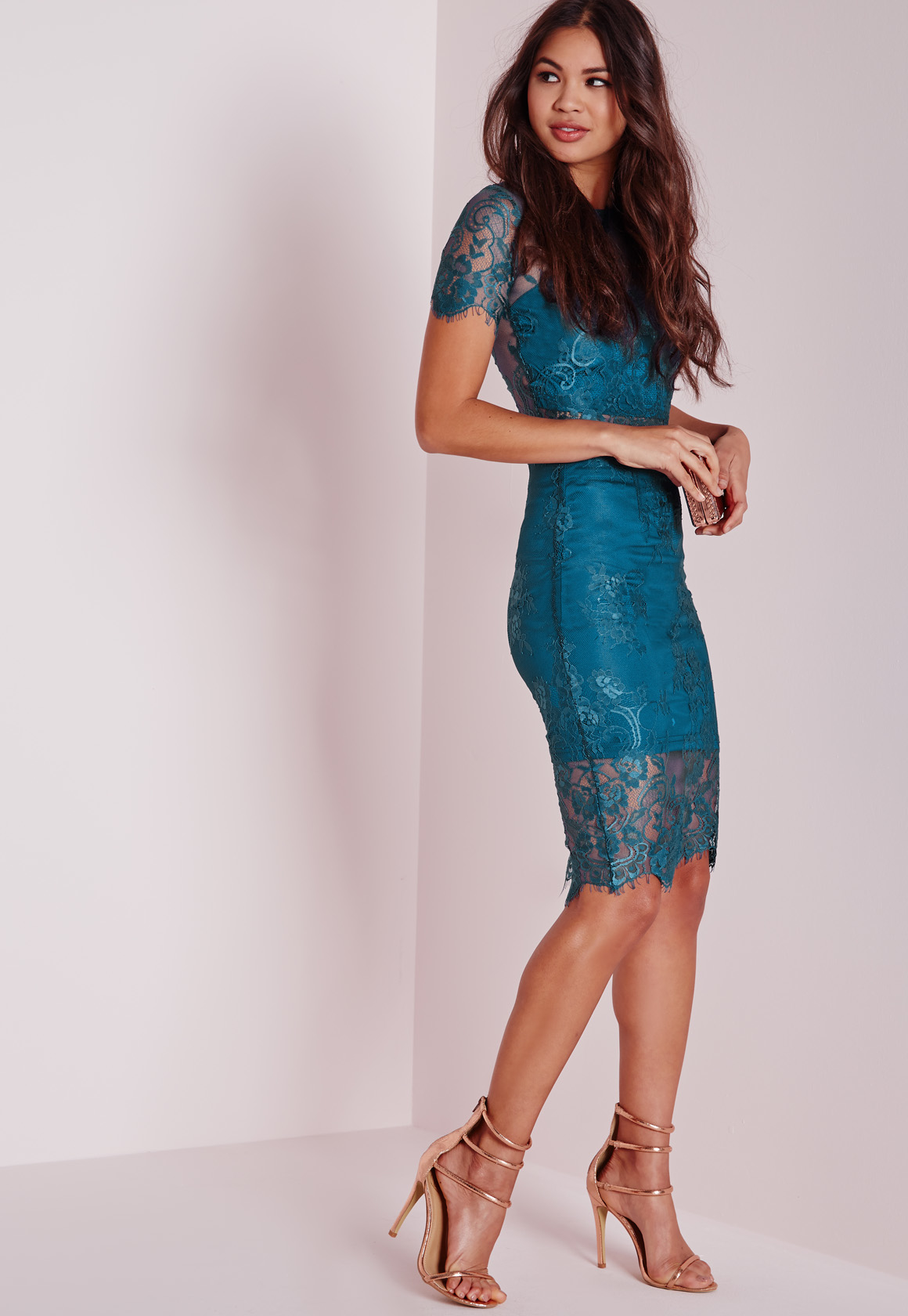 missguided lace midi skirt teal in blue lyst