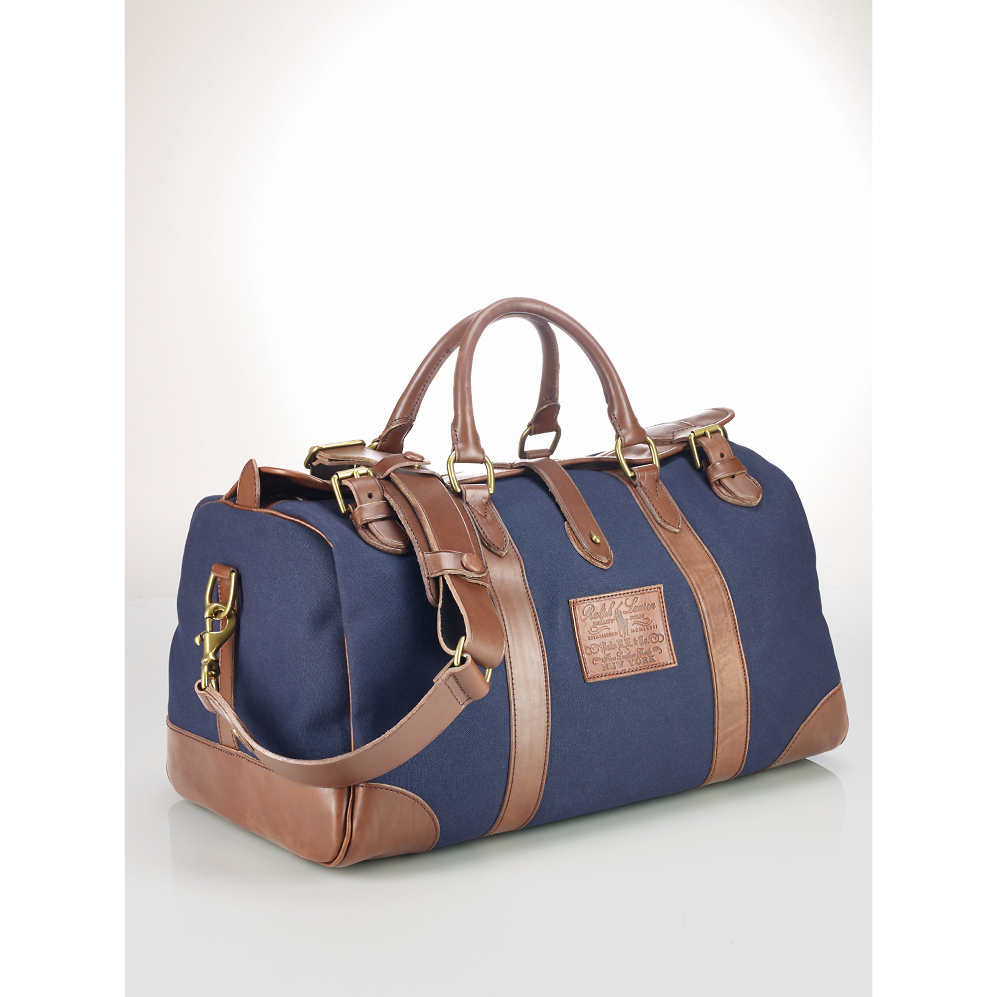 384fd014c73e Lyst - Polo Ralph Lauren Leather-trim Canvas Gym Bag in Blue for Men