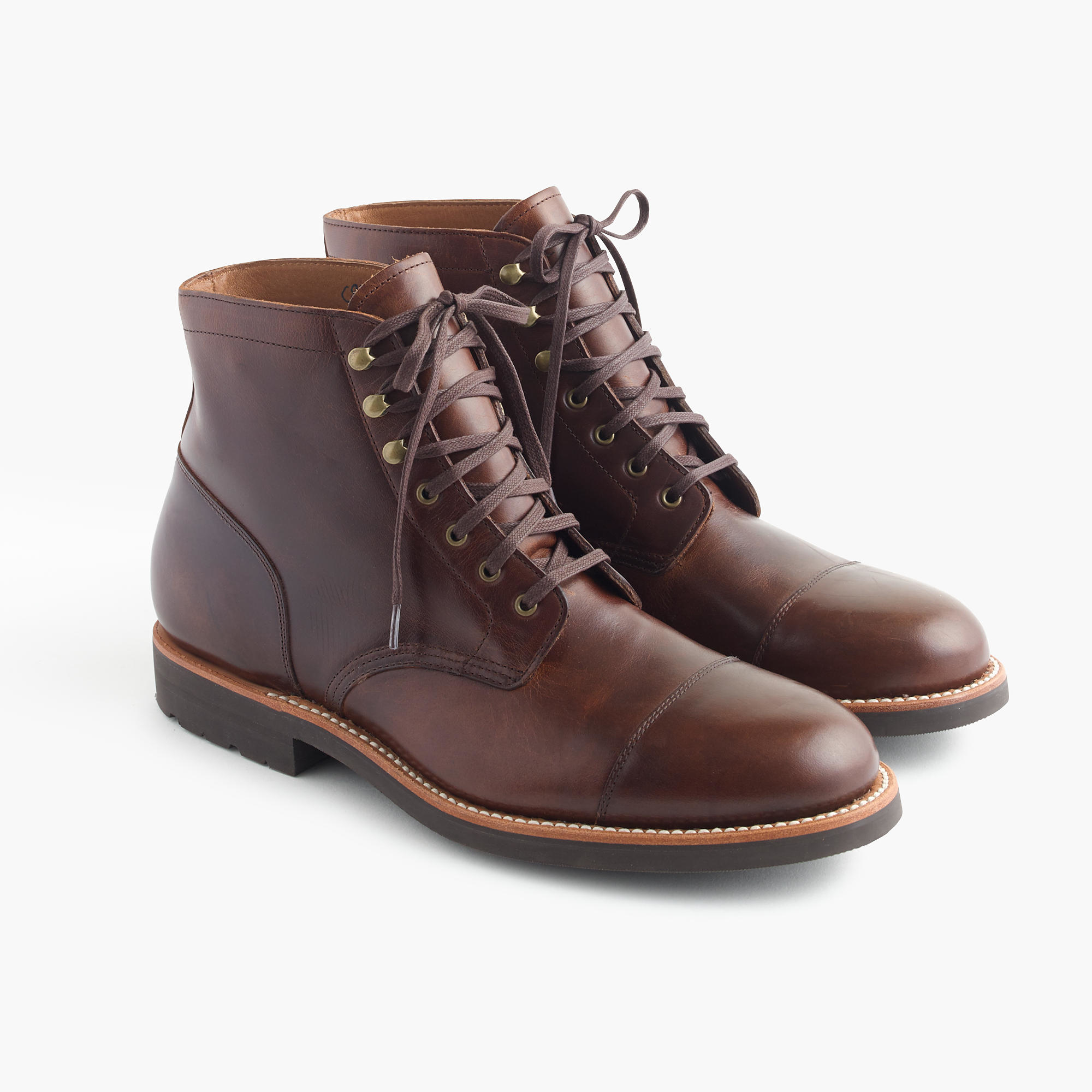 J.crew Kenton Leather Cap-toe Boots in Brown for Men | Lyst