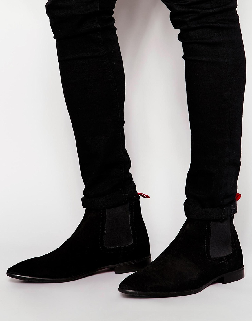 asos chelsea boots in suede in black for men lyst. Black Bedroom Furniture Sets. Home Design Ideas